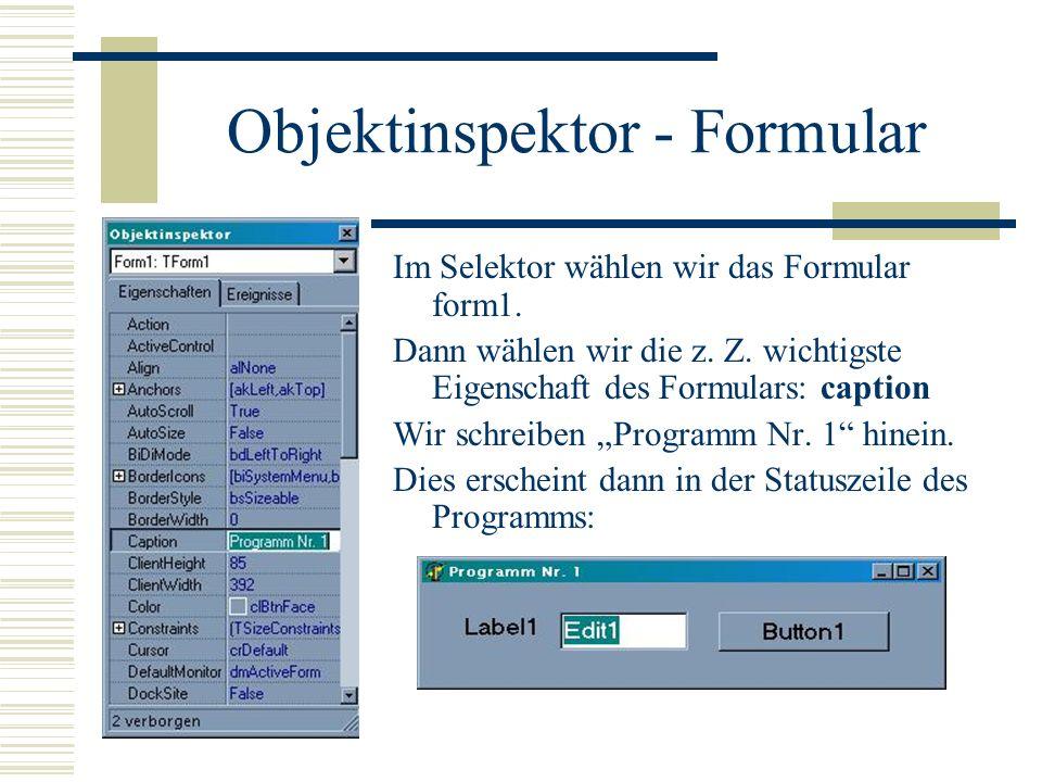 Objektinspektor - Formular