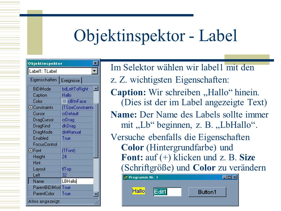 Objektinspektor - Label
