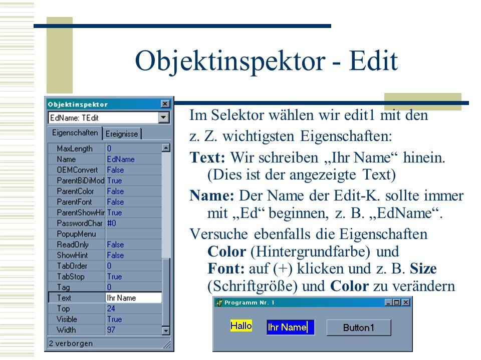 Objektinspektor - Edit