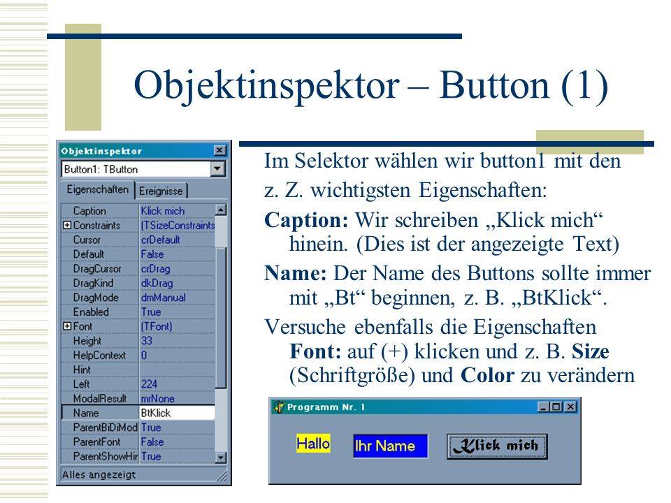 Objektinspektor – Button (1)