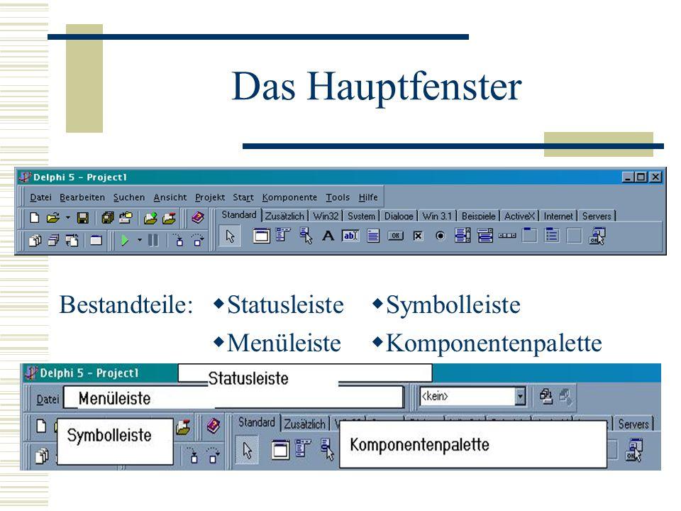 Das Hauptfenster Bestandteile: Statusleiste Menüleiste Symbolleiste