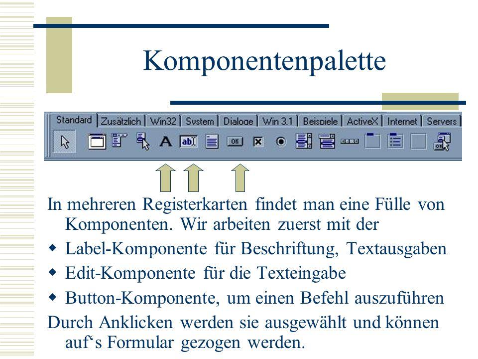 Komponentenpalette In mehreren Registerkarten findet man eine Fülle von Komponenten. Wir arbeiten zuerst mit der.