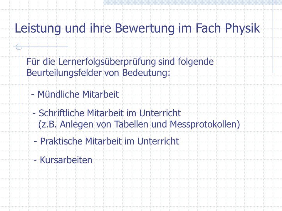 Leistung und ihre Bewertung im Fach Physik