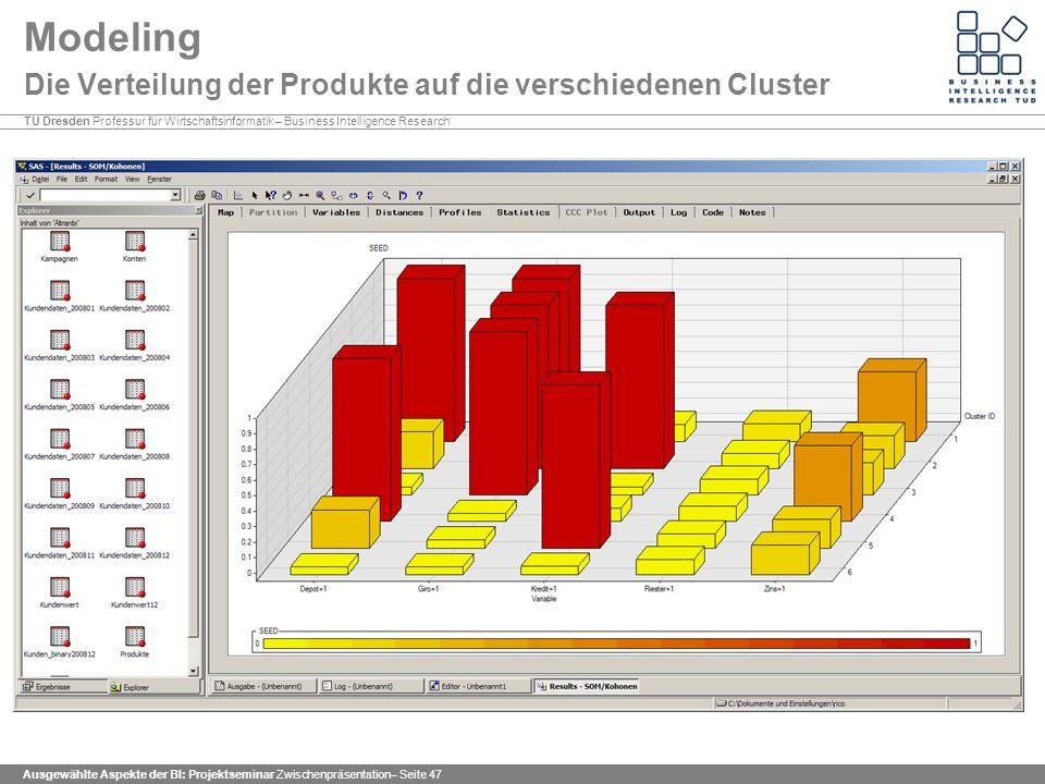 Modeling Die Verteilung der Produkte auf die verschiedenen Cluster