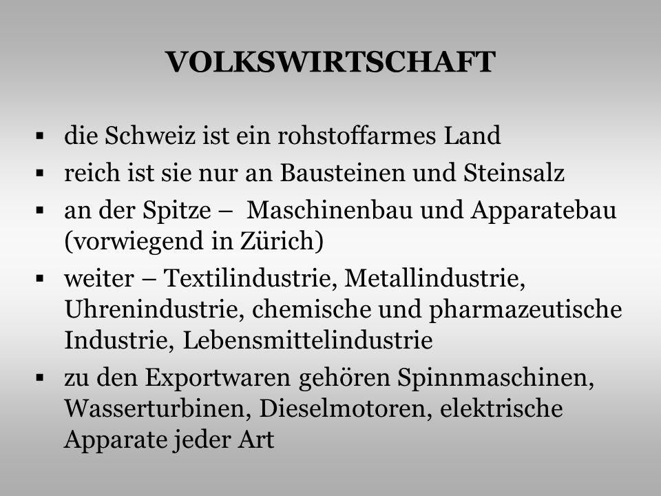 VOLKSWIRTSCHAFT die Schweiz ist ein rohstoffarmes Land