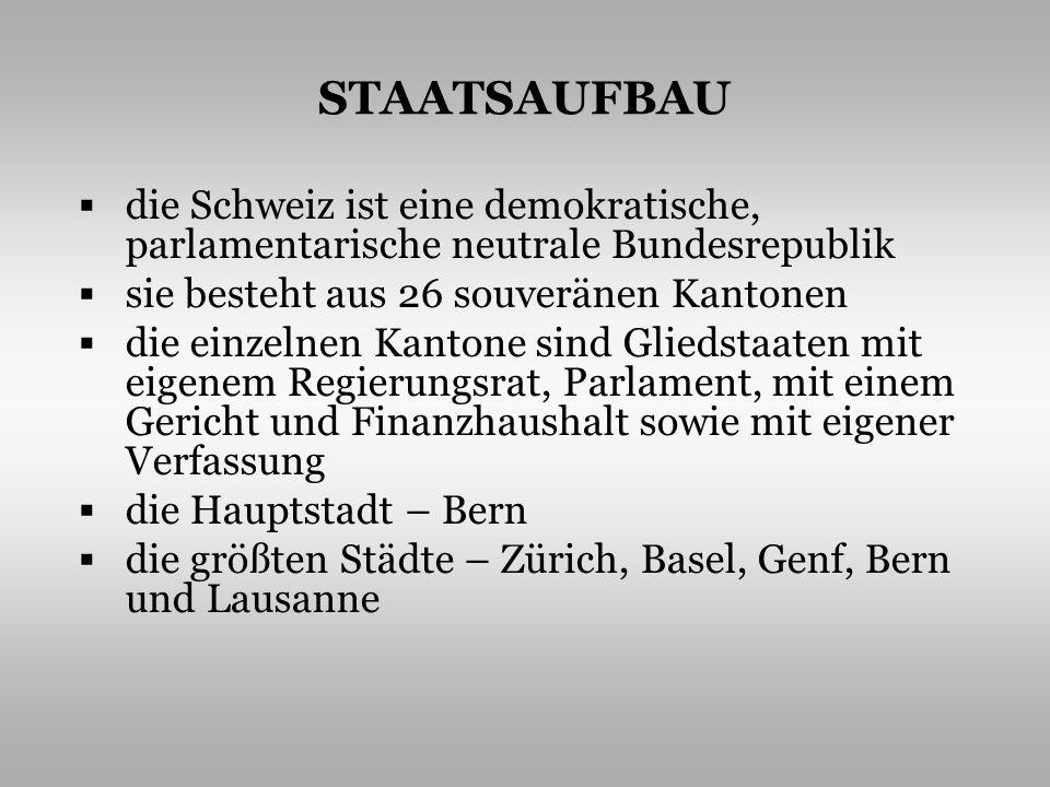 STAATSAUFBAU die Schweiz ist eine demokratische, parlamentarische neutrale Bundesrepublik. sie besteht aus 26 souveränen Kantonen.