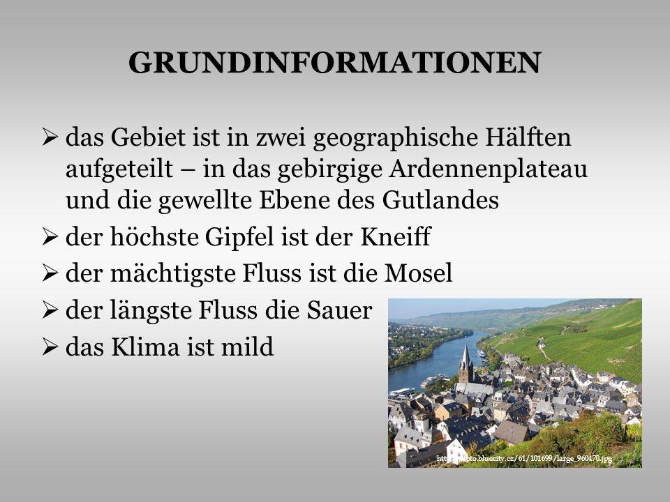 GRUNDINFORMATIONEN das Gebiet ist in zwei geographische Hälften aufgeteilt – in das gebirgige Ardennenplateau und die gewellte Ebene des Gutlandes.