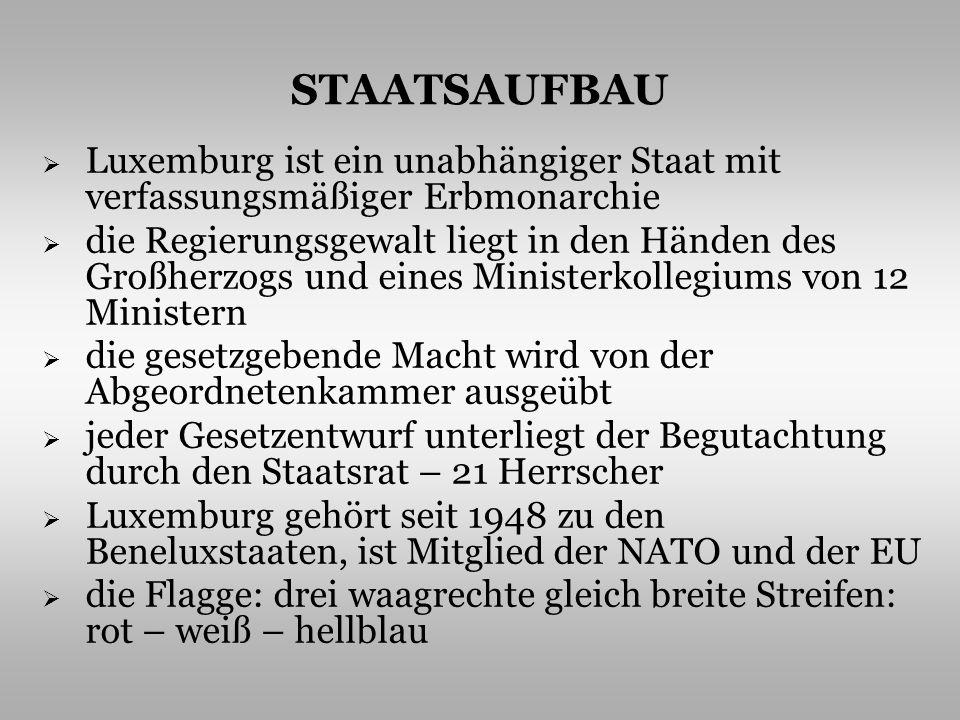 STAATSAUFBAU Luxemburg ist ein unabhängiger Staat mit verfassungsmäßiger Erbmonarchie.