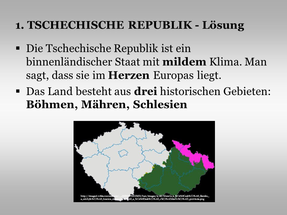 1. TSCHECHISCHE REPUBLIK - Lösung