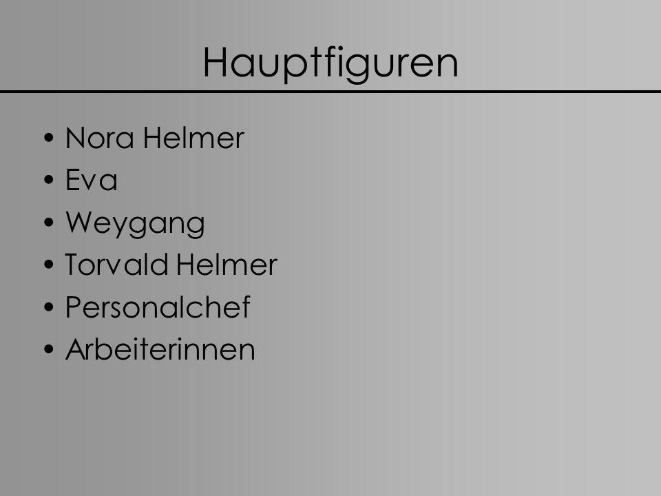 Hauptfiguren Nora Helmer Eva Weygang Torvald Helmer Personalchef