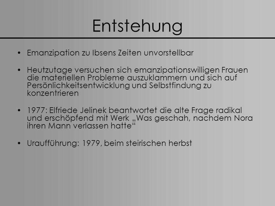 Entstehung Emanzipation zu Ibsens Zeiten unvorstellbar