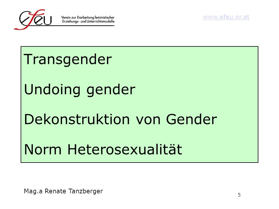 Transgender Undoing gender Dekonstruktion von Gender Norm Heterosexualität
