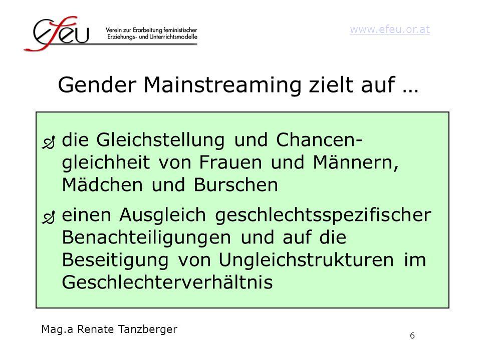 Gender Mainstreaming zielt auf …