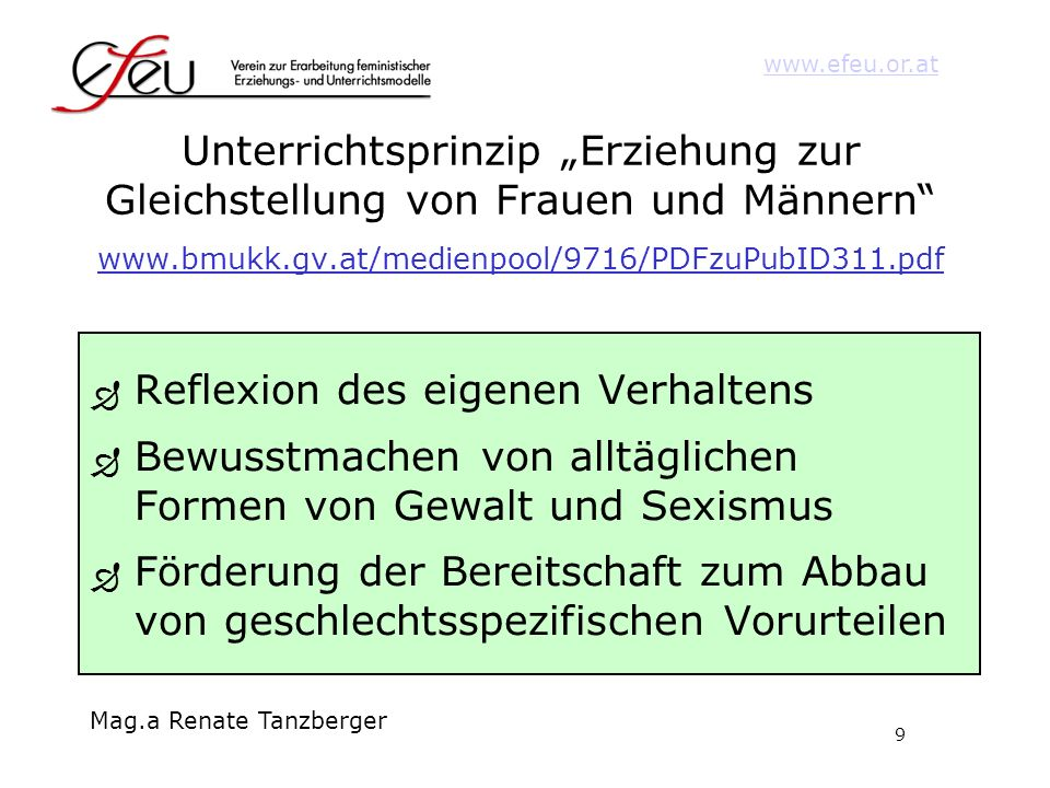 """Unterrichtsprinzip """"Erziehung zur Gleichstellung von Frauen und Männern www.bmukk.gv.at/medienpool/9716/PDFzuPubID311.pdf"""