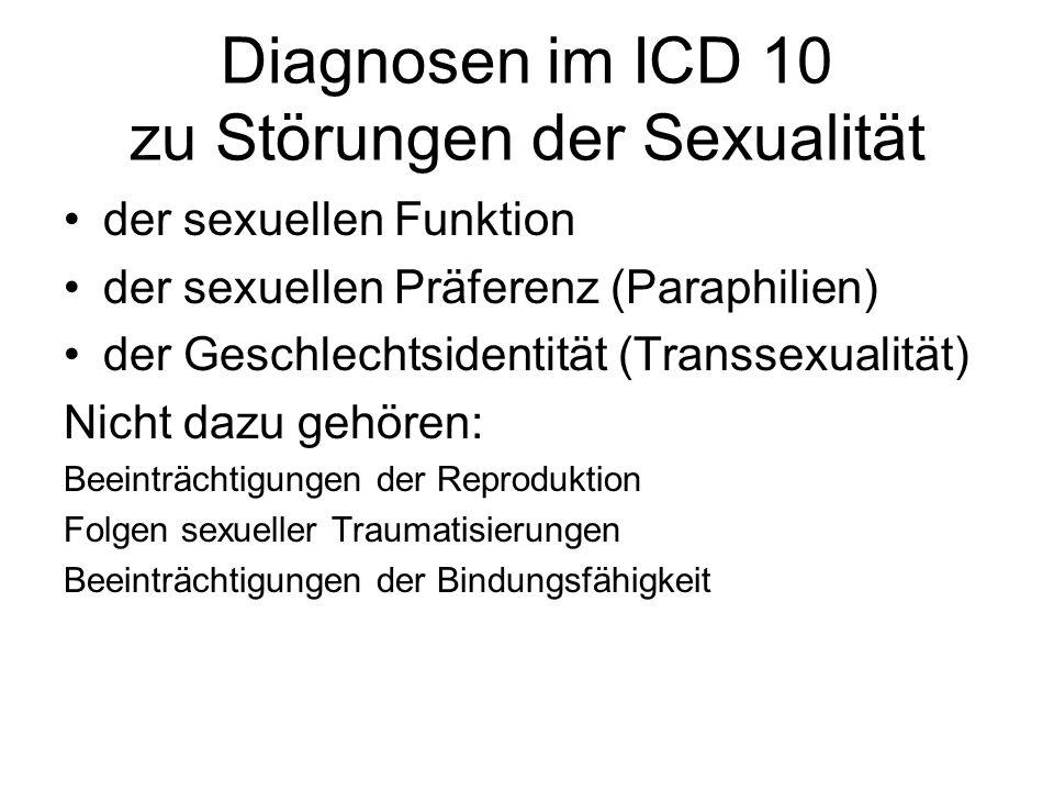 Diagnosen im ICD 10 zu Störungen der Sexualität