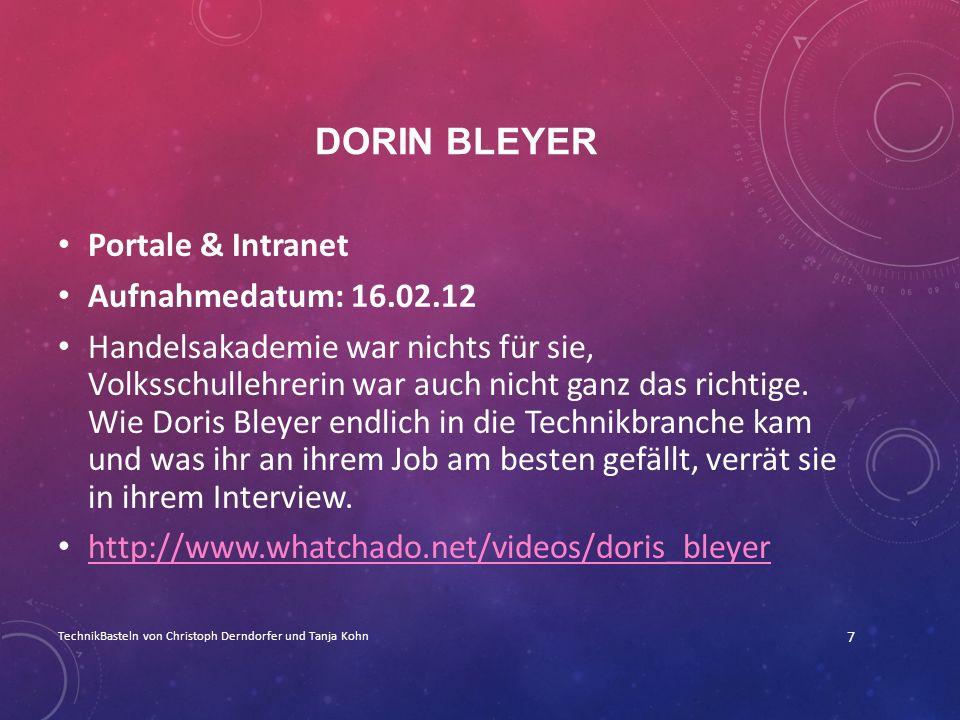 Dorin Bleyer Portale & Intranet Aufnahmedatum: 16.02.12