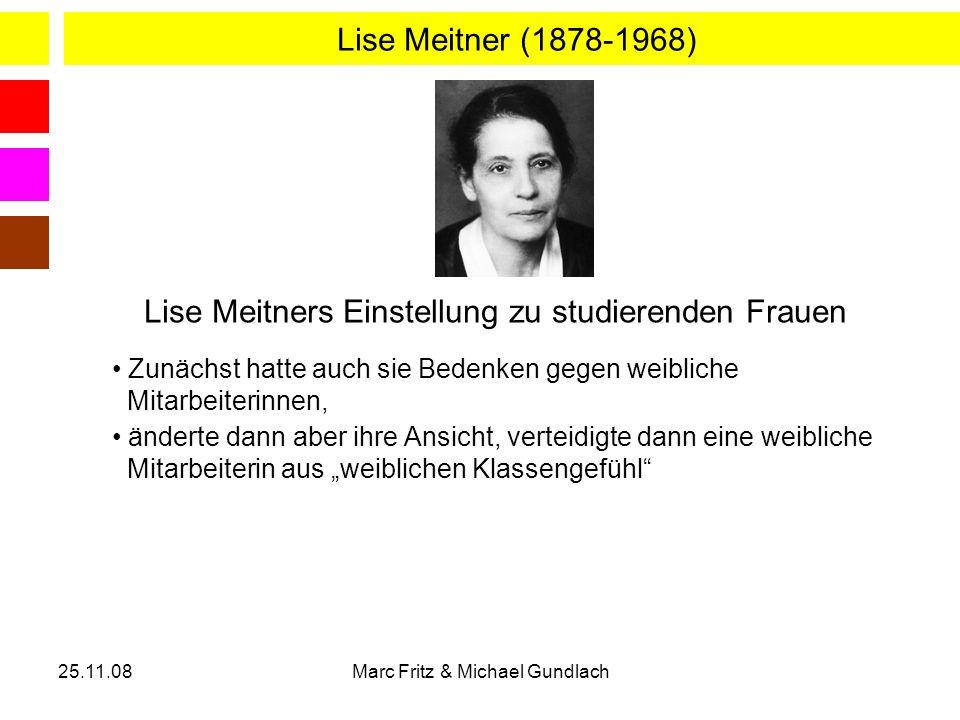Lise Meitners Einstellung zu studierenden Frauen