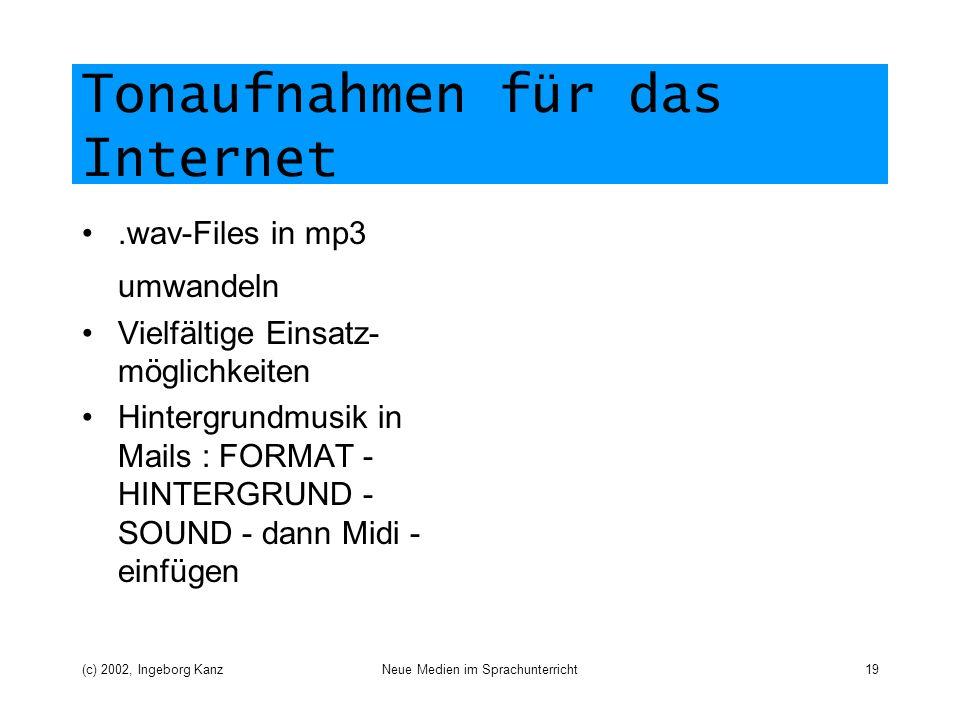 Tonaufnahmen für das Internet