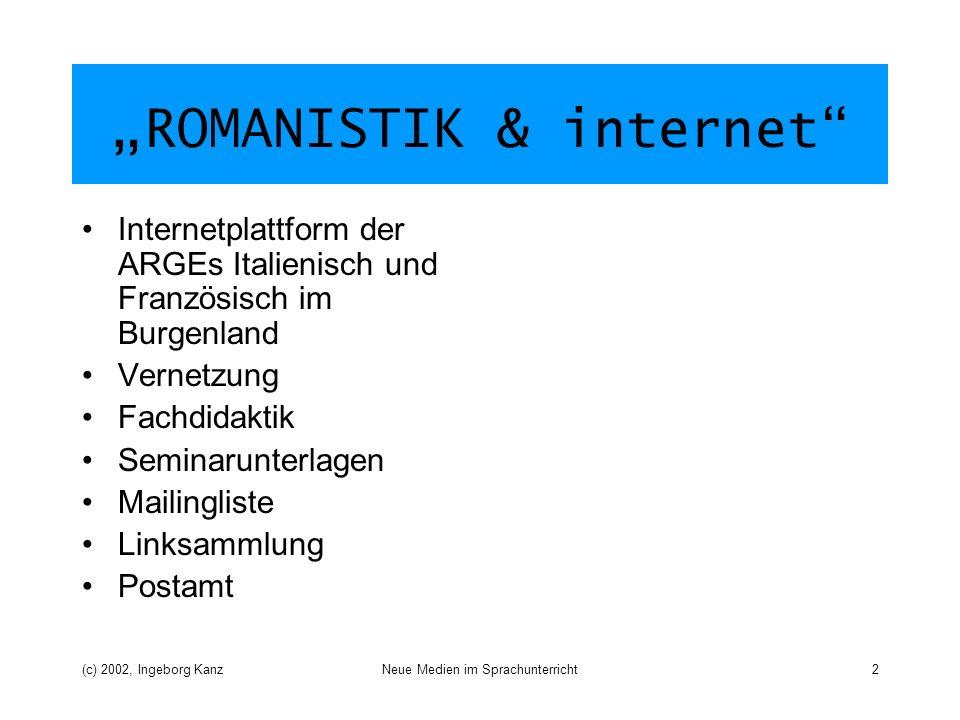 """ROMANISTIK & internet"