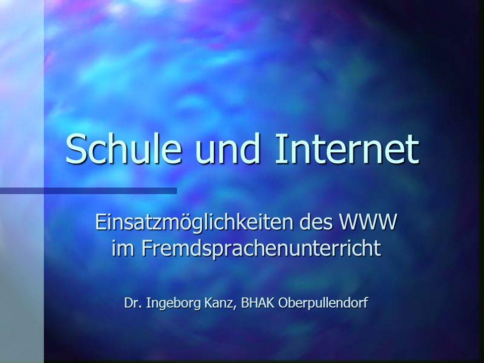 Schule und Internet Einsatzmöglichkeiten des WWW im Fremdsprachenunterricht.