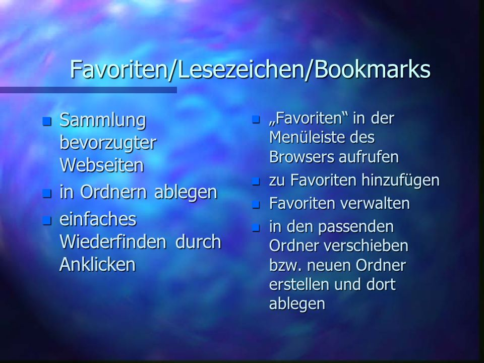 Favoriten/Lesezeichen/Bookmarks