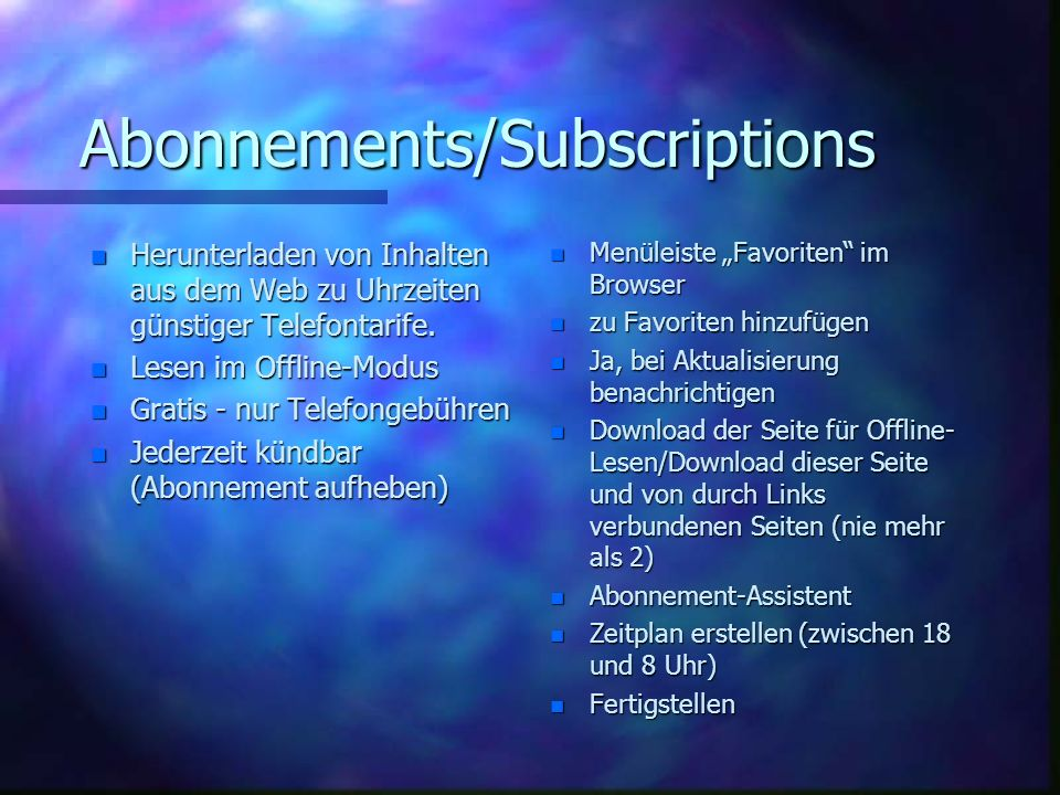 Abonnements/Subscriptions