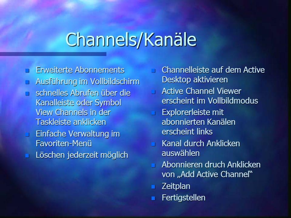 Channels/Kanäle Erweiterte Abonnements Ausführung im Vollbildschirm