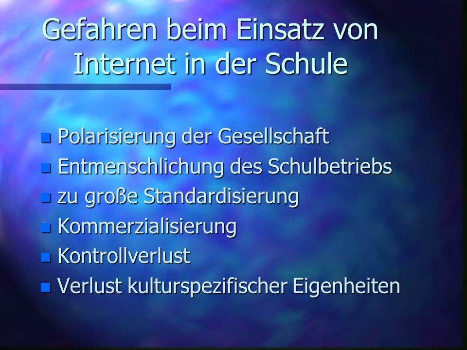 Gefahren beim Einsatz von Internet in der Schule