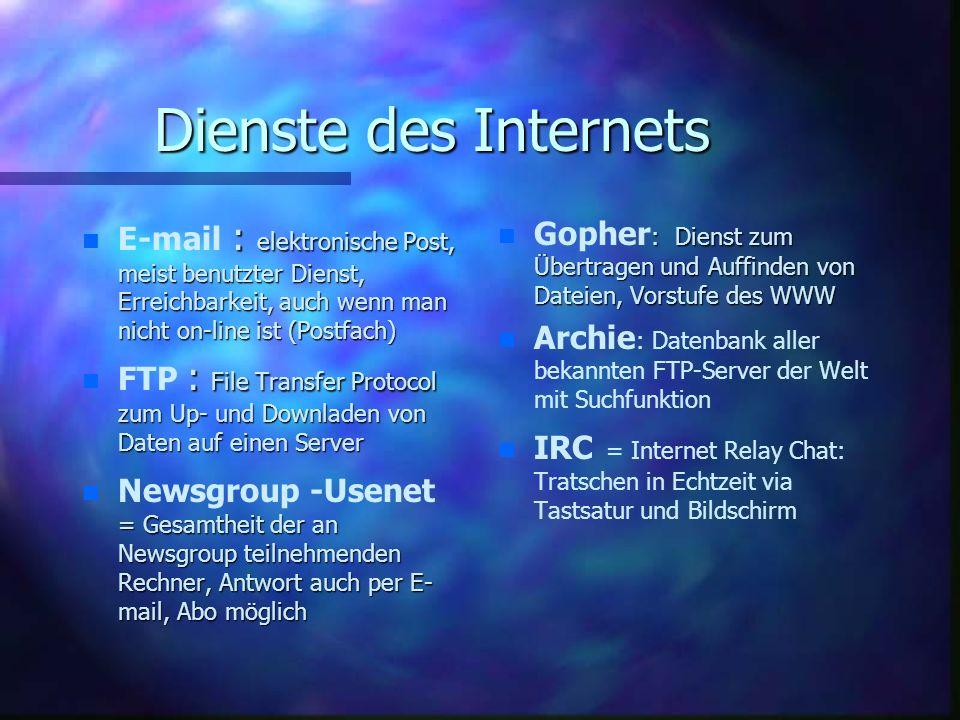 Dienste des Internets E-mail : elektronische Post, meist benutzter Dienst, Erreichbarkeit, auch wenn man nicht on-line ist (Postfach)