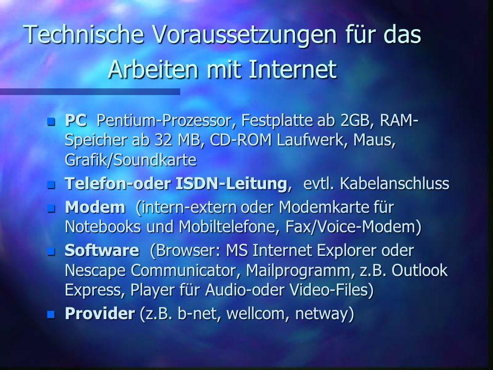 Technische Voraussetzungen für das Arbeiten mit Internet