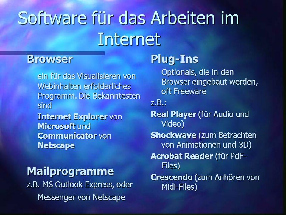 Software für das Arbeiten im Internet