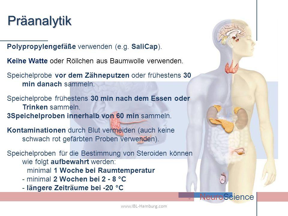 Präanalytik NeuroScience Polypropylengefäße verwenden (e.g. SaliCap).