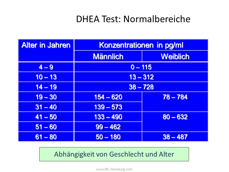 DHEA Test: Normalbereiche