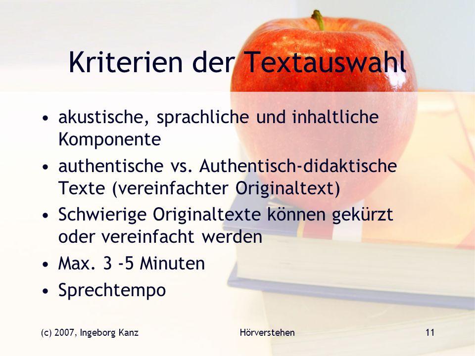 Kriterien der Textauswahl