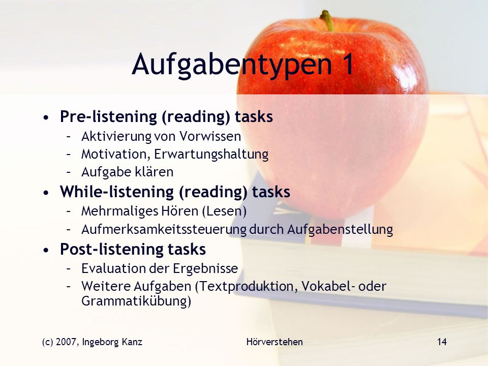 Aufgabentypen 1 Pre-listening (reading) tasks