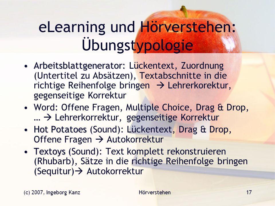 eLearning und Hörverstehen: Übungstypologie