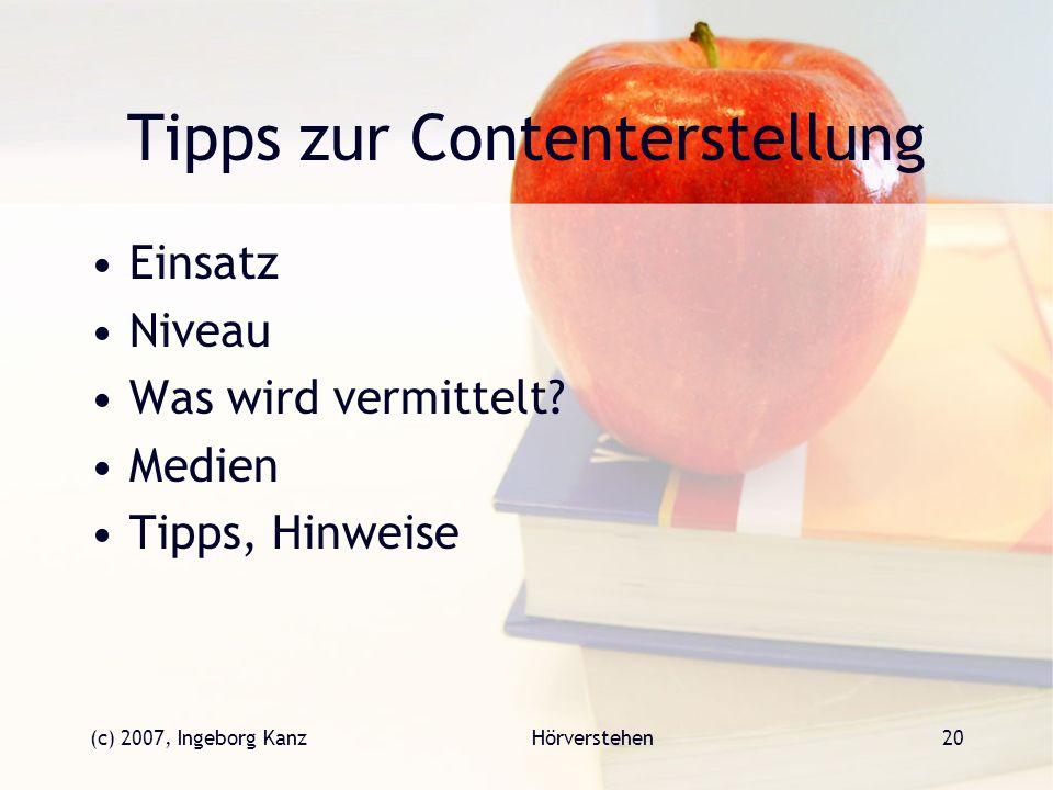 Tipps zur Contenterstellung