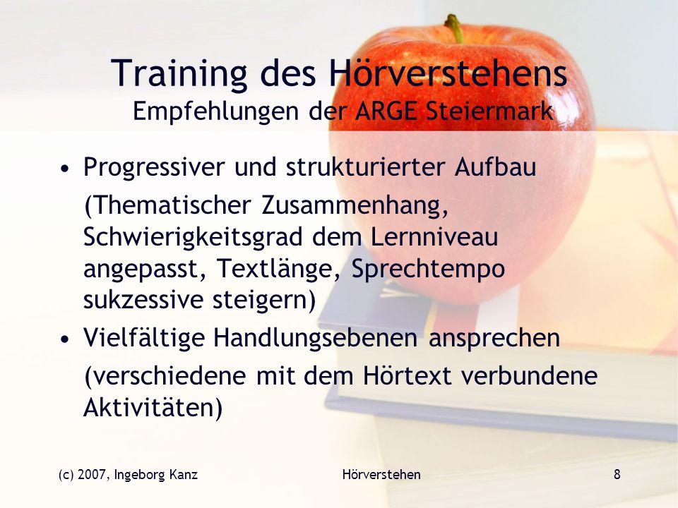 Training des Hörverstehens Empfehlungen der ARGE Steiermark