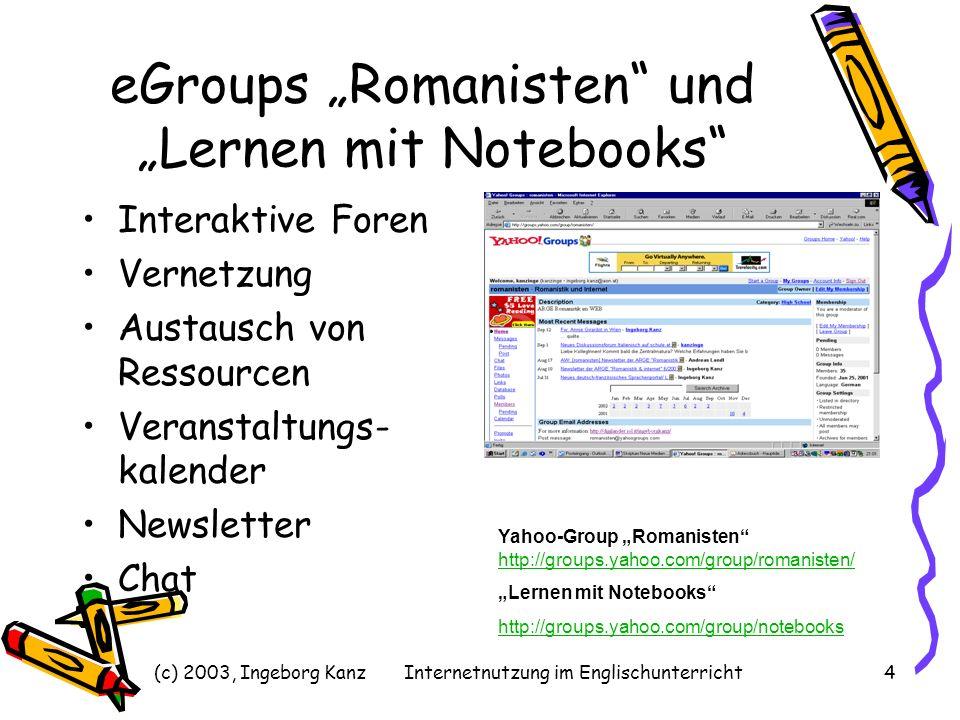 """eGroups """"Romanisten und """"Lernen mit Notebooks"""