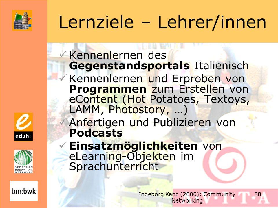 Lernziele – Lehrer/innen