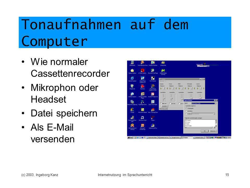 Tonaufnahmen auf dem Computer