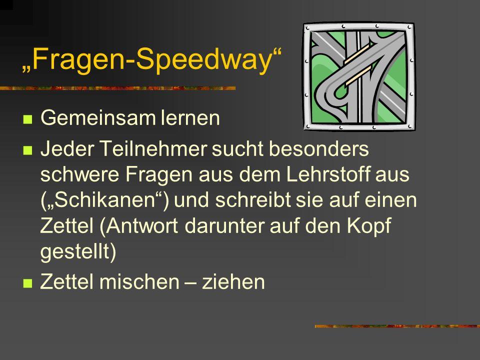 """""""Fragen-Speedway Gemeinsam lernen"""