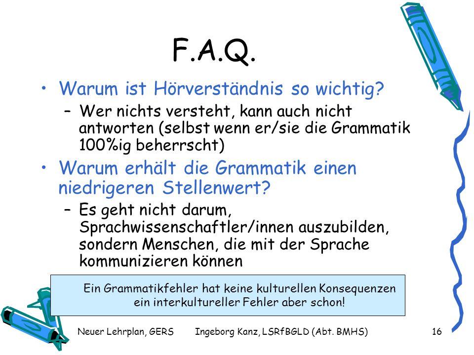 F.A.Q. Warum ist Hörverständnis so wichtig