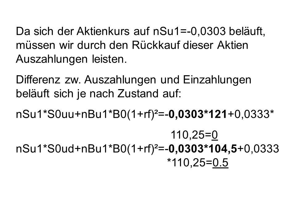 Da sich der Aktienkurs auf nSu1=-0,0303 beläuft, müssen wir durch den Rückkauf dieser Aktien Auszahlungen leisten.