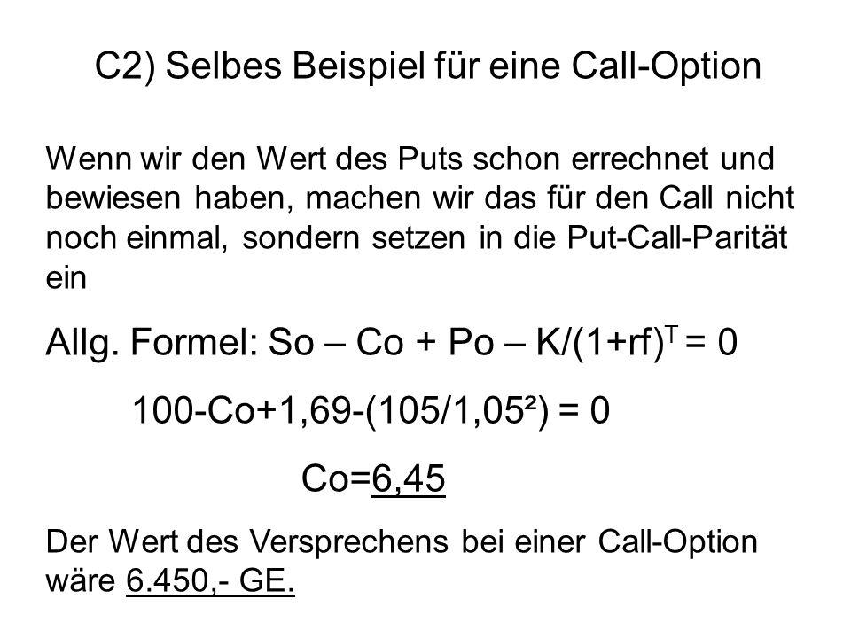 C2) Selbes Beispiel für eine Call-Option
