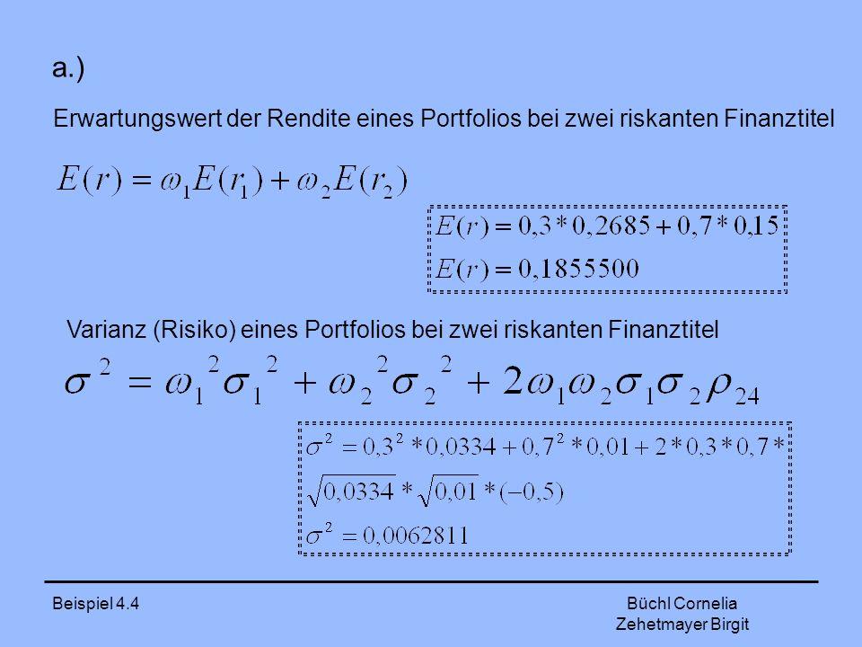 a.) Erwartungswert der Rendite eines Portfolios bei zwei riskanten Finanztitel. Varianz (Risiko) eines Portfolios bei zwei riskanten Finanztitel.