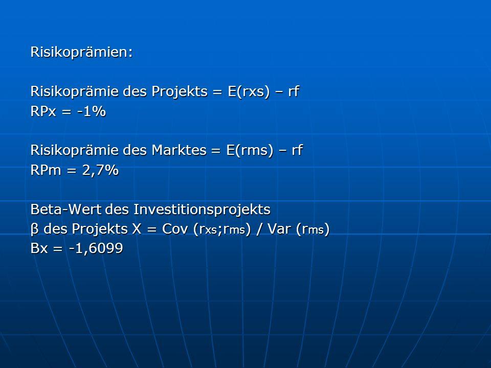 Risikoprämien: Risikoprämie des Projekts = E(rxs) – rf. RPx = -1% Risikoprämie des Marktes = E(rms) – rf.