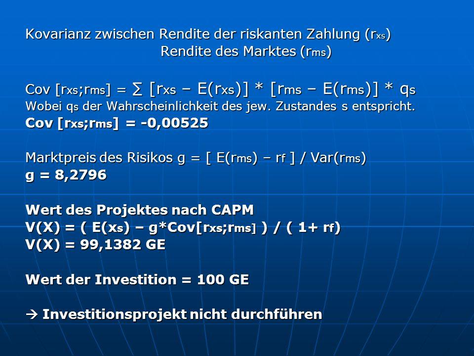 Kovarianz zwischen Rendite der riskanten Zahlung (rxs)