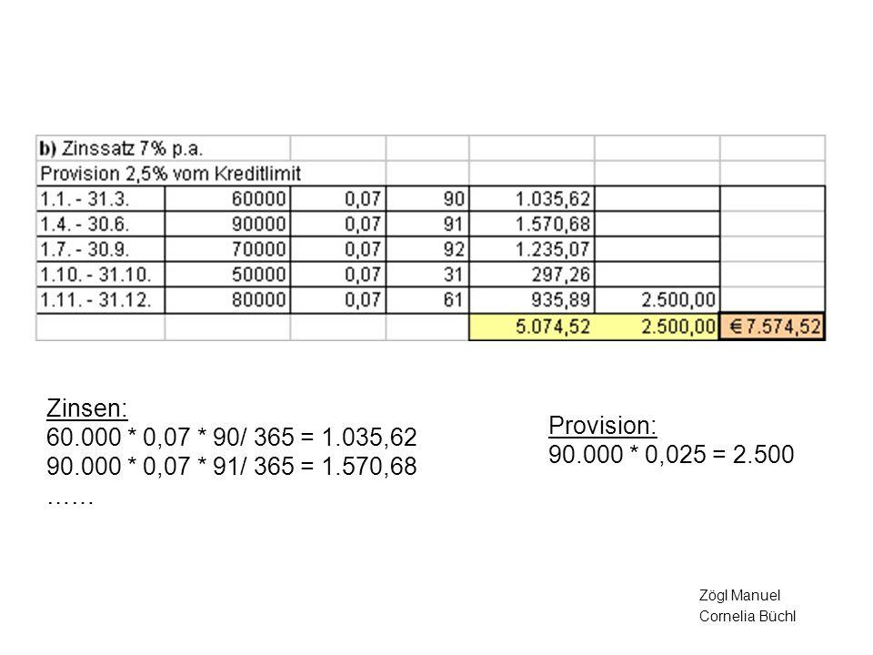 Zinsen: 60.000 * 0,07 * 90/ 365 = 1.035,62 90.000 * 0,07 * 91/ 365 = 1.570,68 …… Provision: 90.000 * 0,025 = 2.500.