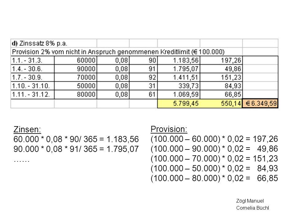Zinsen: 60.000 * 0,08 * 90/ 365 = 1.183,56 90.000 * 0,08 * 91/ 365 = 1.795,07 ……